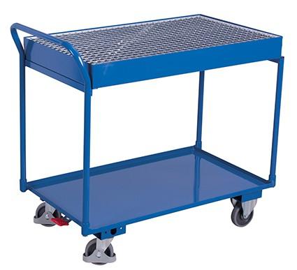 VARIOfit Tischwagen mit 2 Ladeflächen und Gitterrost 1125 x 610 mm