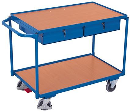 VARIOfit Tischwagen mit 2 Ladeflächen und 2 Schubladen 1175 x 625 mm