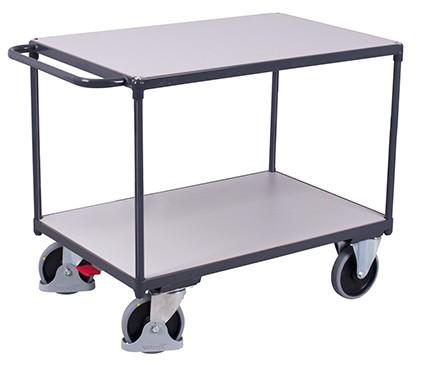 VARIOfit Schwerer ESD Tischwagen mit 2 Ladeflächen 1390 x 800 mm