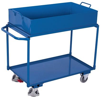 VARIOfit Tischwagen mit 2 Ladeflächen und abnehmbarer Wanne 1180 x 610 mm