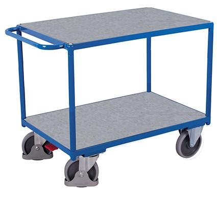 VARIOfit Schwerer Tischwagen mit 2 Zinkblechladeflächen 1390 x 800 mm