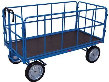 VARIOfit Handpritschenwagen mit 4 Rohrgitterwänden 2065 x 1015 mm