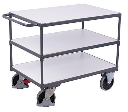 VARIOfit Schwerer ESD Tischwagen mit 3 Ladeflächen 1390 x 800 mm